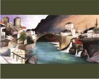 Csontváry festménye előtt a híd újjáépítéséről